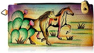 Anna by Anchka Women's Genuine Leather Organizer Wallet | Hand Painted Original Artwork | Five Credit Card Holders, Drivers License | Arizona Mtang