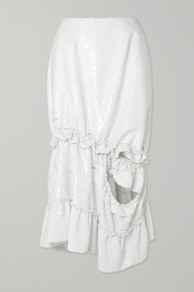Simone Rocha Gathered Cutout Sequined Tulle Midi Skirt - White