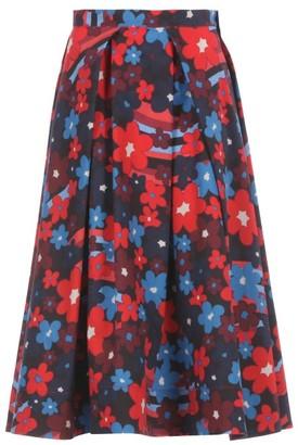 Marni Pleated Floral-print Cotton-poplin Skirt - Red Print