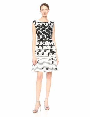 Gabby Skye Women's Striped Floral Printed Fit and Flare Dress