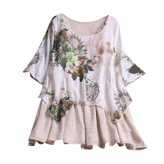 iHAZA Womens Plus Size Casual Printed Floral Color O-Neck Shirts Blouse Top Beige