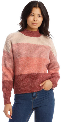 Grab Stand Neck Block Stripe Knit