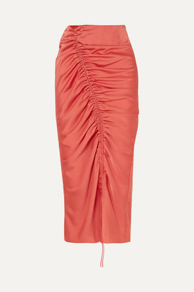 The Line By K - Sisilia Ruched Hammered-satin Skirt - Coral