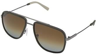 Salvatore Ferragamo SF203SM (Matte Ruthenium/Green) Fashion Sunglasses
