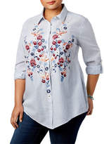 Style And Co. Plus Embroidered Stripe Shirt