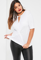 Missguided Plus Size White Knot Front T-Shirt