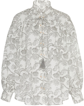 Alix of Bohemia Grisaille Lace Up Top