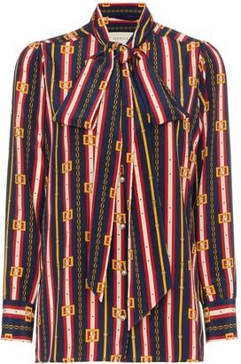Gucci bow detail chain print silk shirt