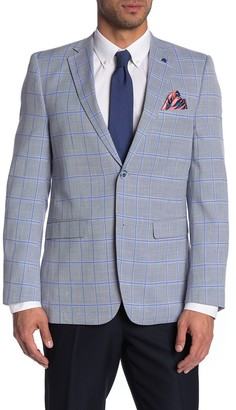 Soul Of London Light Blue Windowpane Print Notch Lapel Blazer