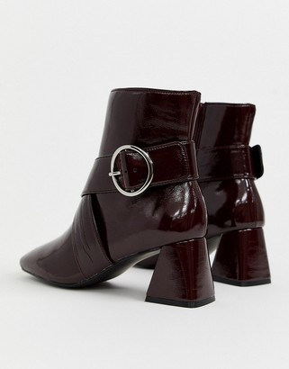 Miss Selfridge square toe ankle boots with buckles in burgundy