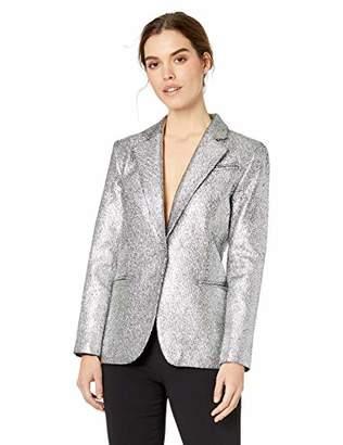 Milly Women's Metallic Laminated Relaxed Fit Boyfriend Blazer
