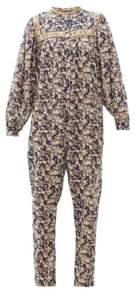 Etoile Isabel Marant Vasco Floral-print Cotton Jumpsuit - Womens - Navy Multi
