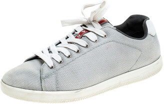 Prada Sport Light Grey Mesh Lace Low Top Sneakers Size 42.5