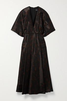 Brandon Maxwell Gathered Printed Gazar Midi Dress - Black