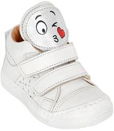 Ocra Smiley Patches Leather Sneakers