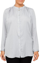 Nouvelle Woman Nehru Collar Luxe Pleat Shirt