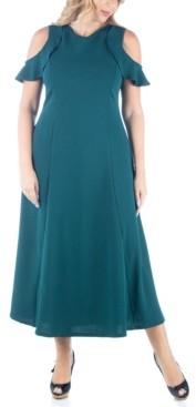 24seven Comfort Apparel Women's Plus Size Ruffle Cold Shoulder Maxi Dress