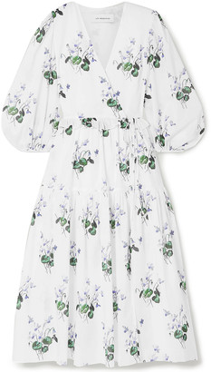 Les Rêveries Ruffle-trimmed Floral-print Cotton-voile Wrap Dress