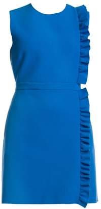 MSGM Sleeveless Side Ruffle Crepe Mini Dress