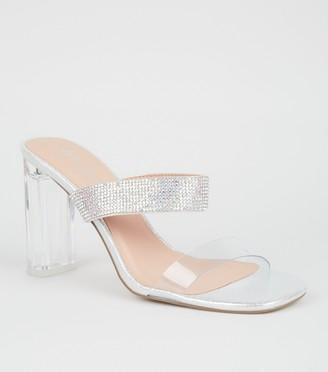 New Look Metallic Diamante Clear Heel Mules