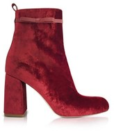 RED Valentino Women's Red Velvet Ankle Boots.
