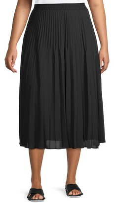 Max Studio Plus Pleated Pull-On Skirt