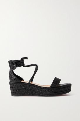 Christian Louboutin Bodrum 60 Lizard-effect Leather And Woven Cotton Espadrille Platform Sandals - Black