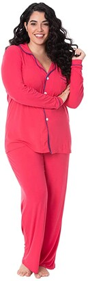 Kickee Pants Collared Pajama Set (Midnight/Natural) Women's Pajama Sets