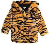 Kenzo Hooded Tiger Printed Faux Fur Coat