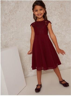 Chi Chi London Girls Lollita Dress - Burgundy