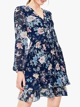 Oasis Floral Pleat Mini Dress, Navy