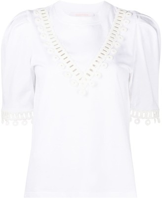 See by Chloe embroidered short-sleeve T-shirt