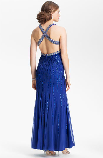 Sean Collection Embellished Mesh Trumpet Gown