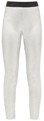 Paco Rabanne Logo-jacquard Metallic-jersey Leggings - Silver