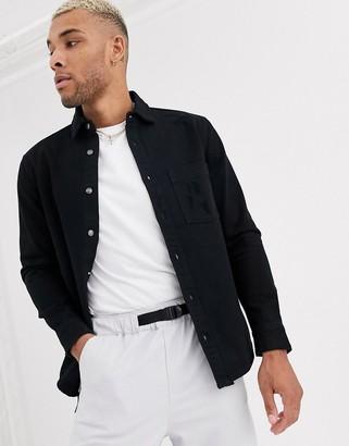 Bershka long sleeve shirt in black