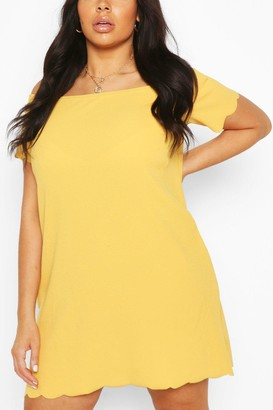 boohoo Plus Off The Shoulder Scallop Shift Dress