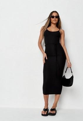 Missguided Petite Black Rib Tie Belt Cami Midaxi Dress
