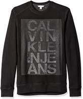 Calvin Klein Jeans Men's Mesh Logo Print Crew Neck Sweatshirt