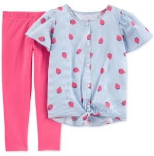 Carter's Little & Big Girls 2-Pc. Striped Strawberry Top & Leggings Set