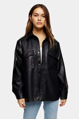 Topshop PETITE Black Faux Leather PU Oversized Shacket