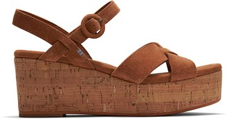 Toms Brown Suede Willow Women's Wedge Sandals