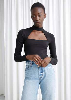 And other stories Cut Out Mock Neck Bodysuit