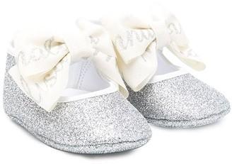 MonnaLisa Glitter Bow Ballerinas