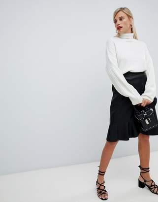 Vila flounce wrap skirt-Black