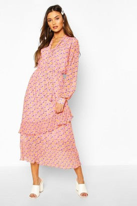 boohoo Floral Print Tie Neck Detail Midaxi Dress
