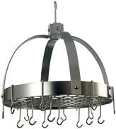 Old Dutch Satin Nickel Dome Hanging Pot Rack withGrid and 16 Hooks