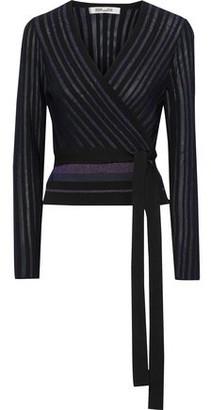 Diane von Furstenberg Metallic Striped Ribbed-knit Wrap-top