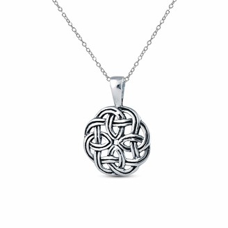 Celtic Charmsy Sterling Silver Jewelry Light Weight Antique Knot Charm Pendant with Cable Chain for Women