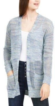 Hooked Up by IOT Juniors' Open-Knit Long Cardigan