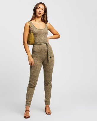 Missguided Women's Brown Jumpsuits - Scoop Tie Waist Lounge Jumpsuit - Size 6 at The Iconic